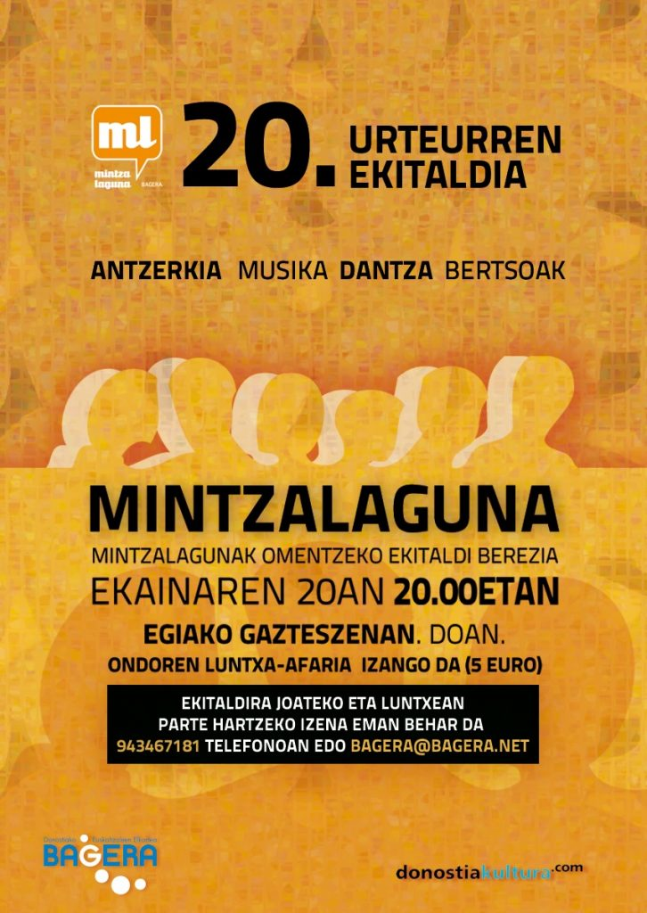 Mintzalagunen 20. urteurrena ospatuko dute Donostian