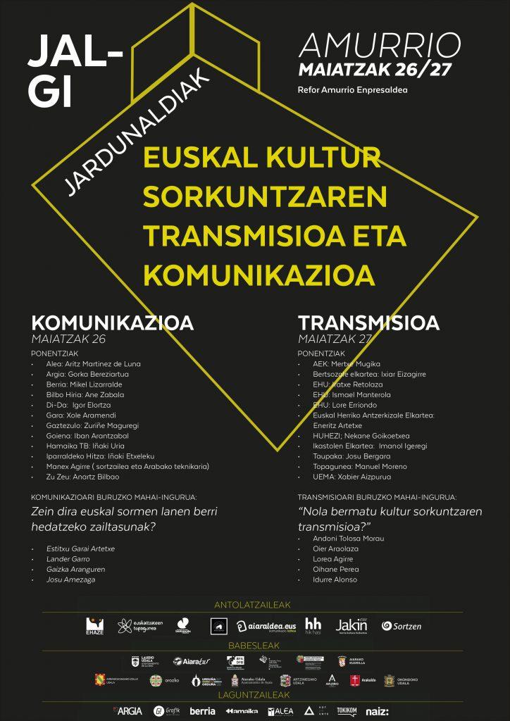 Euskal kulturaren transmisioa eta komunikazioa aztergai Jalgi jardunaldietan
